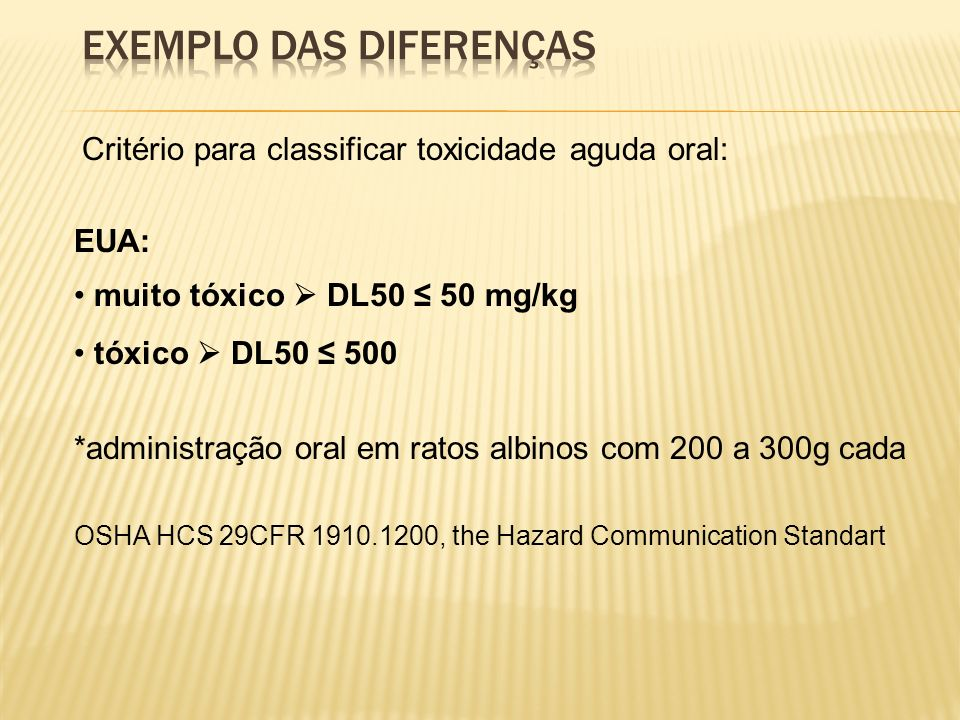 Exemplo das diferenças