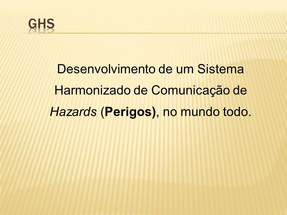 GHS Desenvolvimento de um Sistema Harmonizado de Comunicação de Hazards (Perigos), no mundo todo.