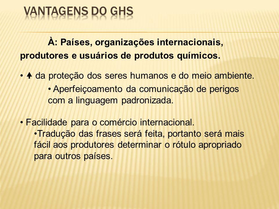 Vantagens do GHS À: Países, organizações internacionais, produtores e usuários de produtos químicos.