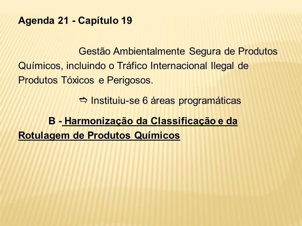 Agenda 21 - Capítulo 19Gestão Ambientalmente Segura de Produtos Químicos, incluindo o Tráfico Internacional Ilegal de Produtos Tóxicos e Perigosos.