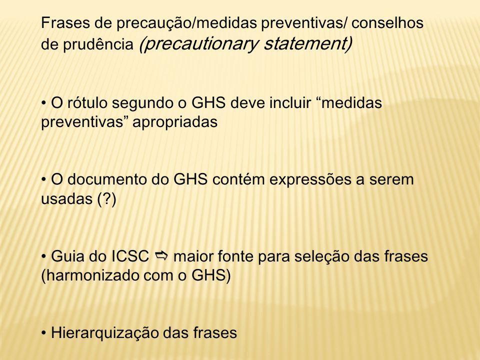 Frases de precaução/medidas preventivas/ conselhos de prudência (precautionary statement)