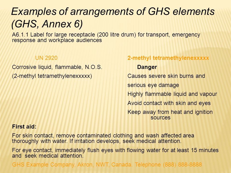 Examples of arrangements of GHS elements (GHS, Annex 6)