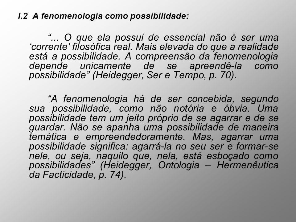 I.2 A fenomenologia como possibilidade: