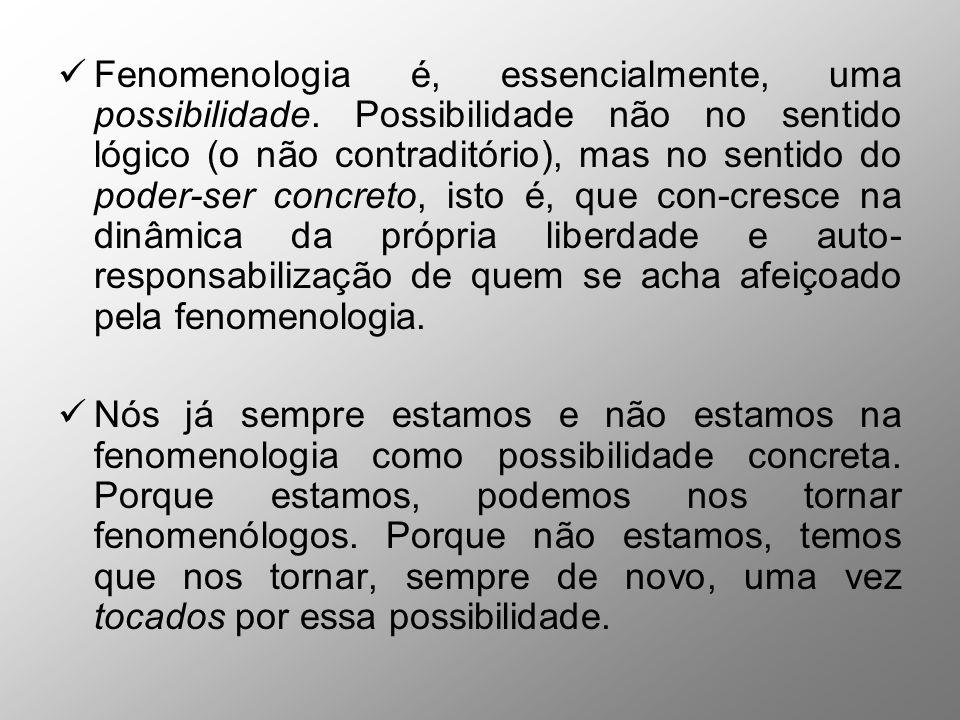 Fenomenologia é, essencialmente, uma possibilidade