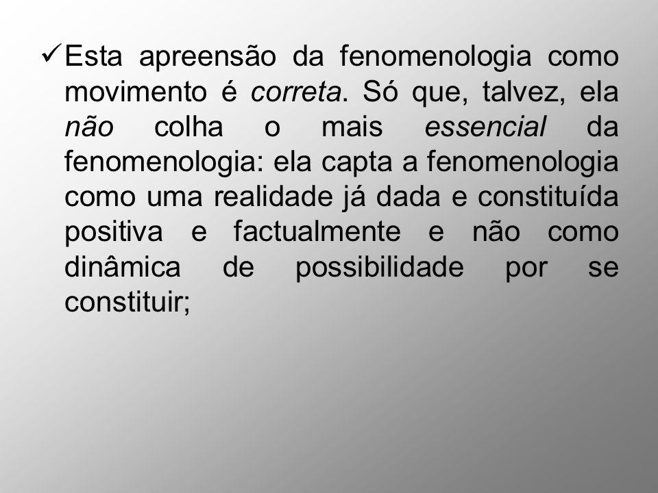 Esta apreensão da fenomenologia como movimento é correta