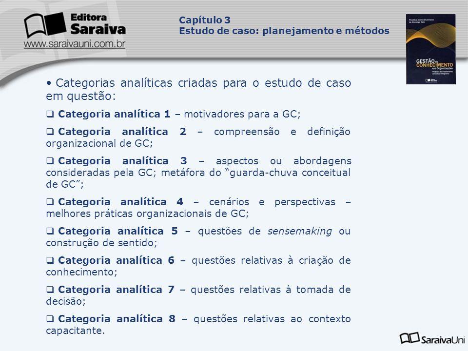 Categorias analíticas criadas para o estudo de caso em questão: