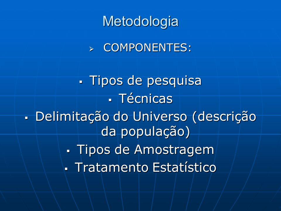 Metodologia Tipos de pesquisa Técnicas
