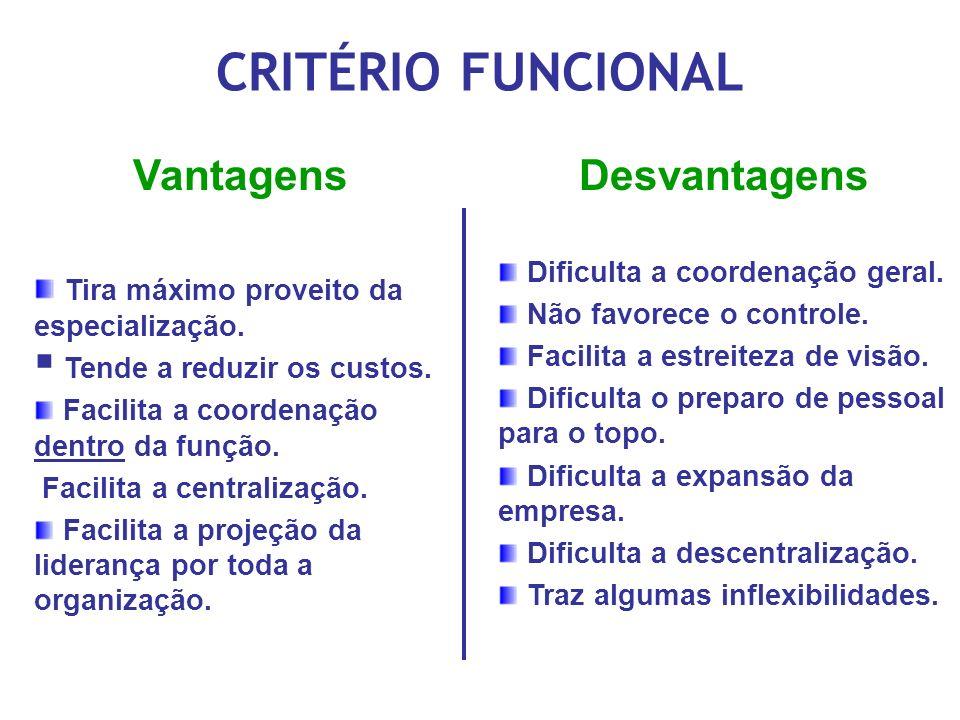 CRITÉRIO FUNCIONAL Vantagens Desvantagens