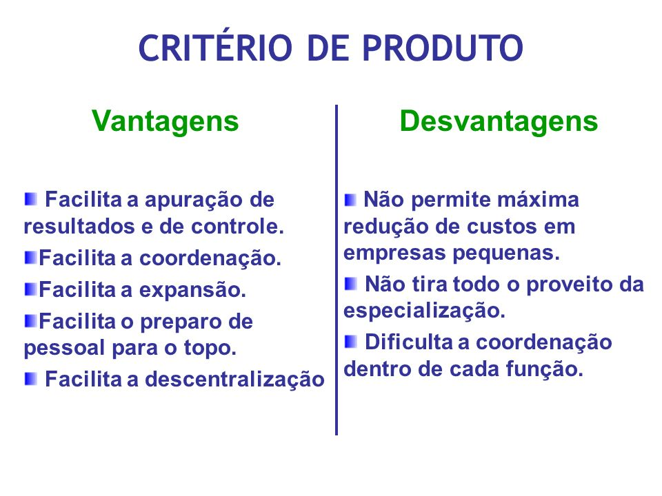 CRITÉRIO DE PRODUTO Vantagens Desvantagens