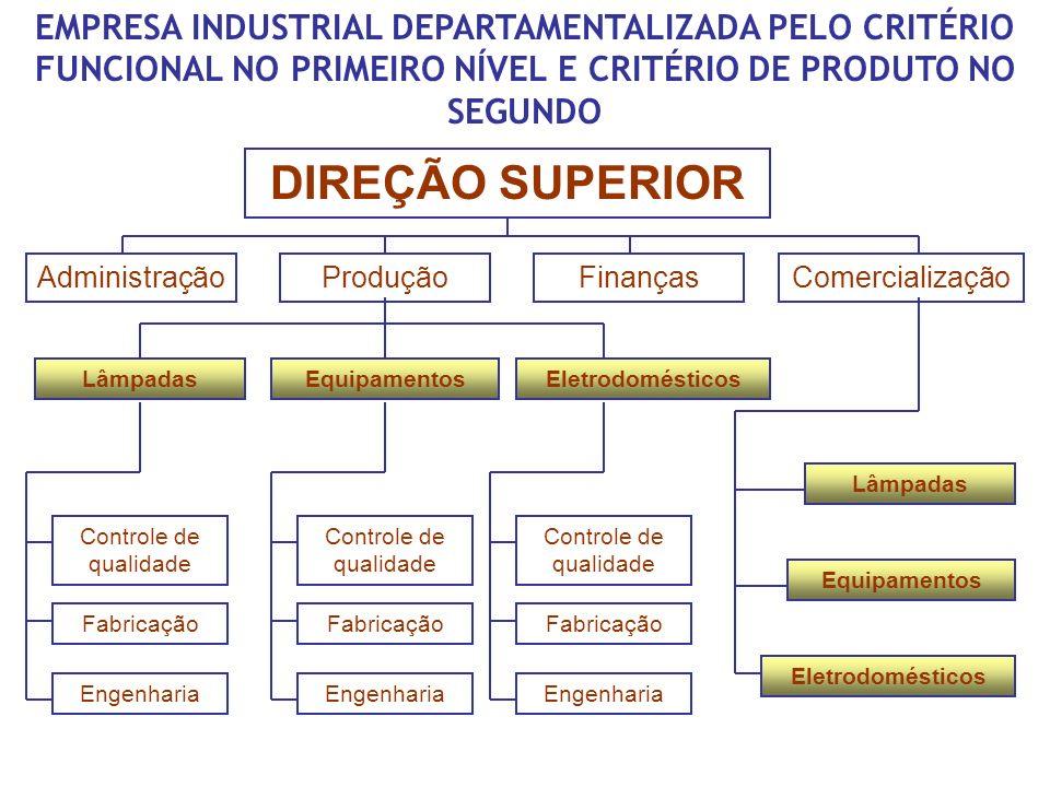 EMPRESA INDUSTRIAL DEPARTAMENTALIZADA PELO CRITÉRIO FUNCIONAL NO PRIMEIRO NÍVEL E CRITÉRIO DE PRODUTO NO SEGUNDO