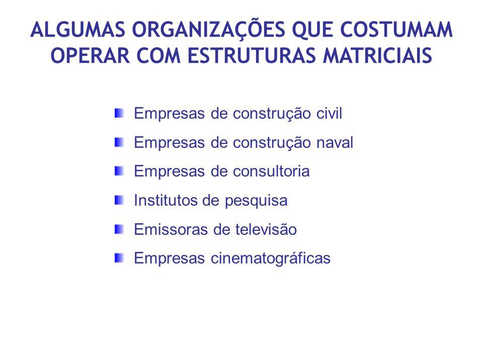 ALGUMAS ORGANIZAÇÕES QUE COSTUMAM OPERAR COM ESTRUTURAS MATRICIAIS