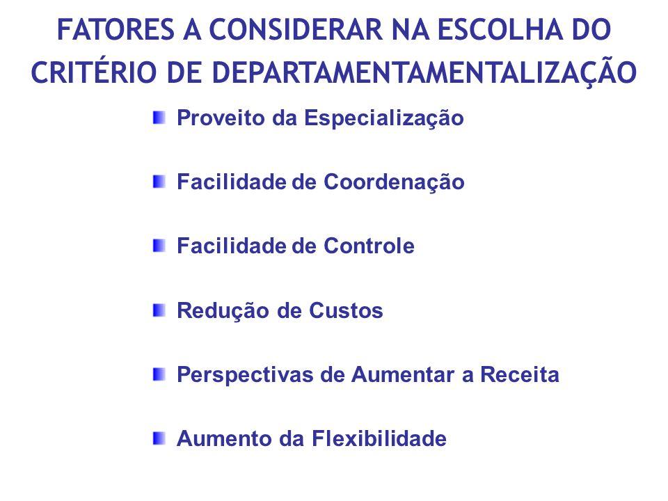 FATORES A CONSIDERAR NA ESCOLHA DO CRITÉRIO DE DEPARTAMENTAMENTALIZAÇÃO