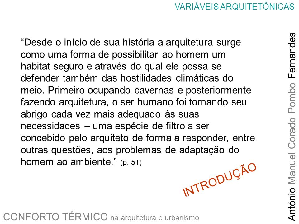 VARIÁVEIS ARQUITETÔNICAS