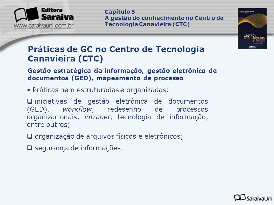Práticas de GC no Centro de Tecnologia Canavieira (CTC)