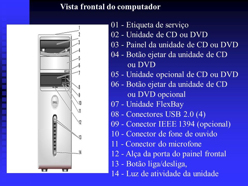 Vista frontal do computador