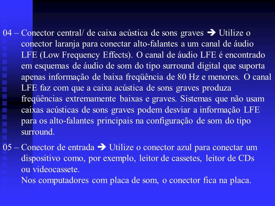 04 – Conector central/ de caixa acústica de sons graves  Utilize o