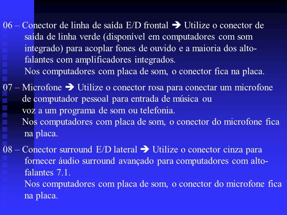 06 – Conector de linha de saída E/D frontal  Utilize o conector de