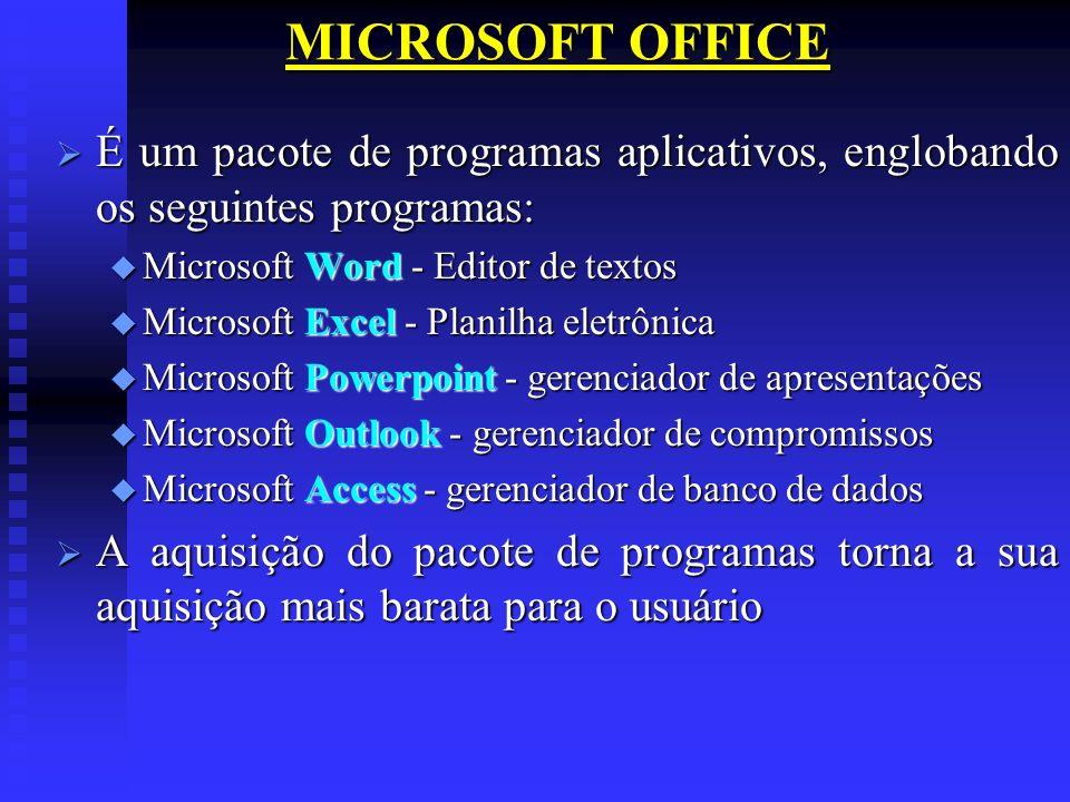 MICROSOFT OFFICE É um pacote de programas aplicativos, englobando os seguintes programas: Microsoft Word - Editor de textos.