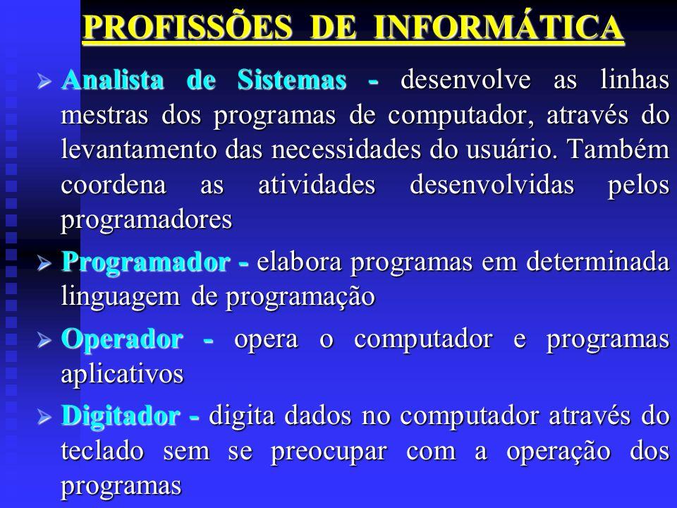 PROFISSÕES DE INFORMÁTICA