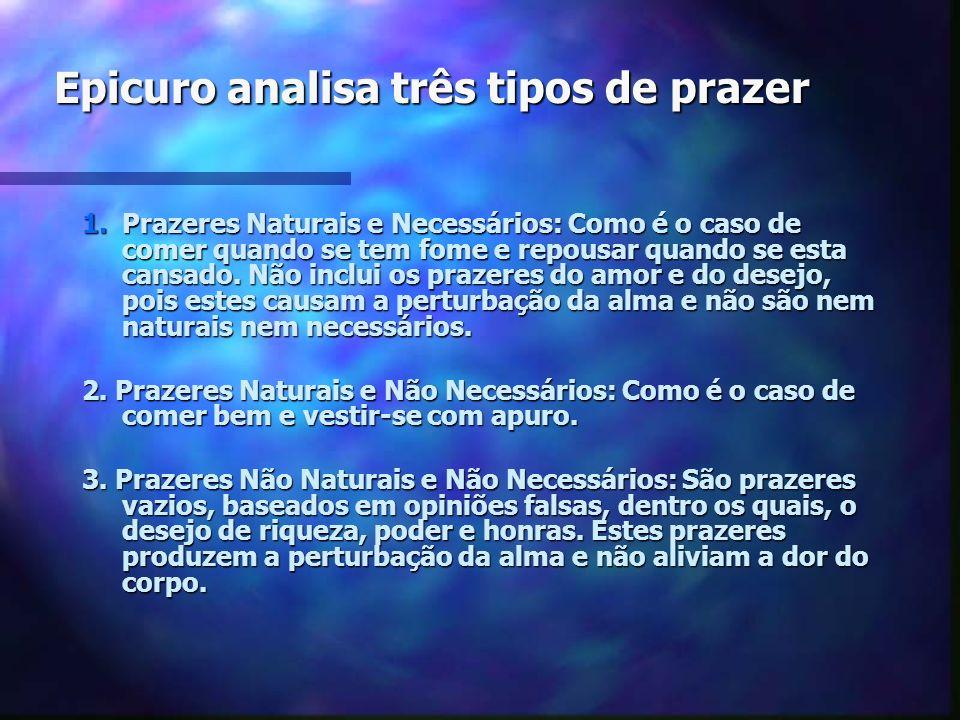 Epicuro analisa três tipos de prazer