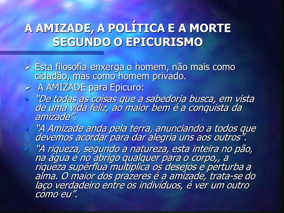 A AMIZADE, A POLÍTICA E A MORTE SEGUNDO O EPICURISMO