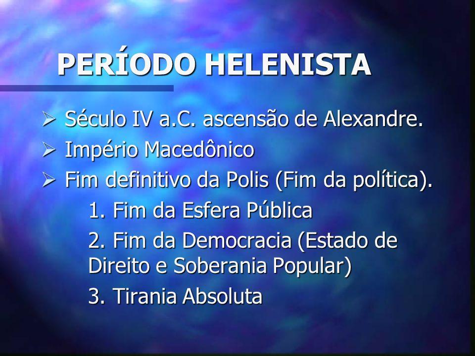 PERÍODO HELENISTA Século IV a.C. ascensão de Alexandre.
