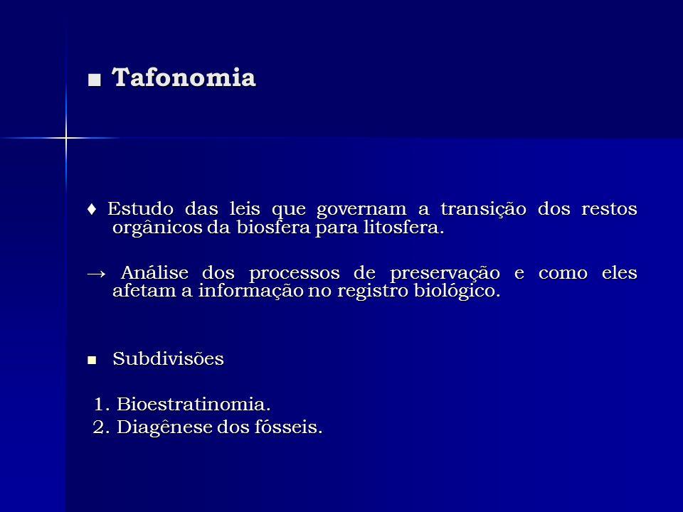 ■ Tafonomia ♦ Estudo das leis que governam a transição dos restos orgânicos da biosfera para litosfera.