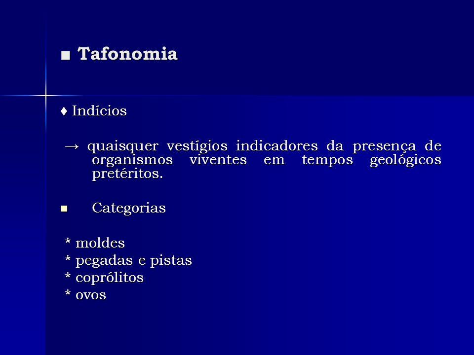■ Tafonomia ♦ Indícios. → quaisquer vestígios indicadores da presença de organismos viventes em tempos geológicos pretéritos.
