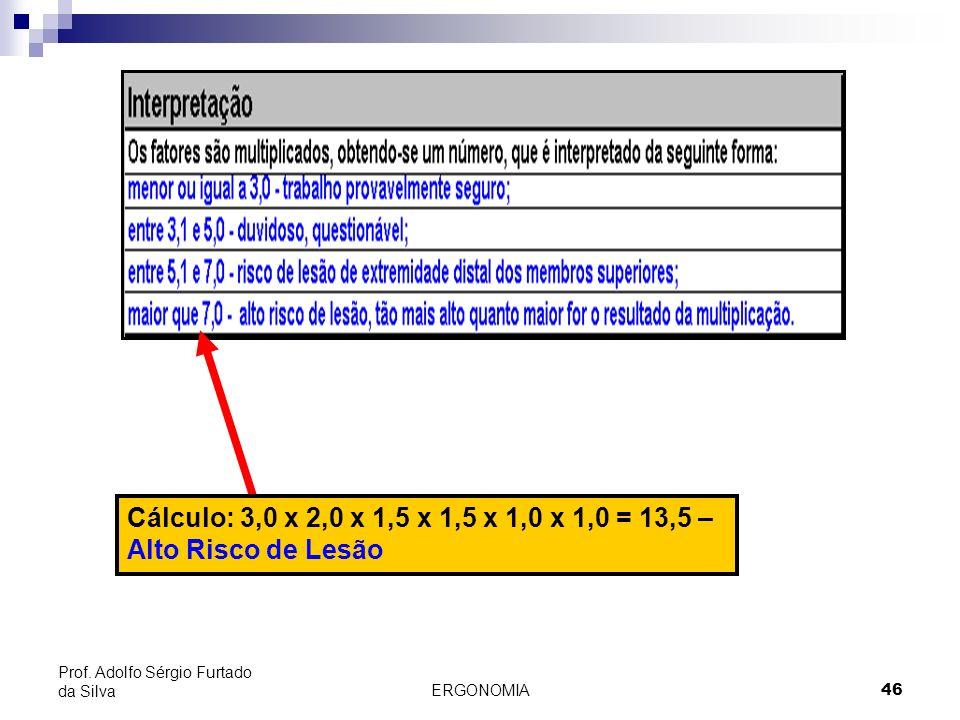 Cálculo: 3,0 x 2,0 x 1,5 x 1,5 x 1,0 x 1,0 = 13,5 – Alto Risco de Lesão