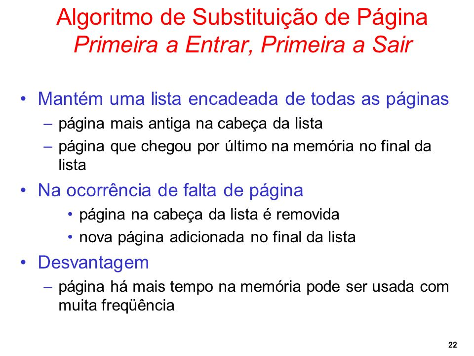 Algoritmo de Substituição de Página Primeira a Entrar, Primeira a Sair