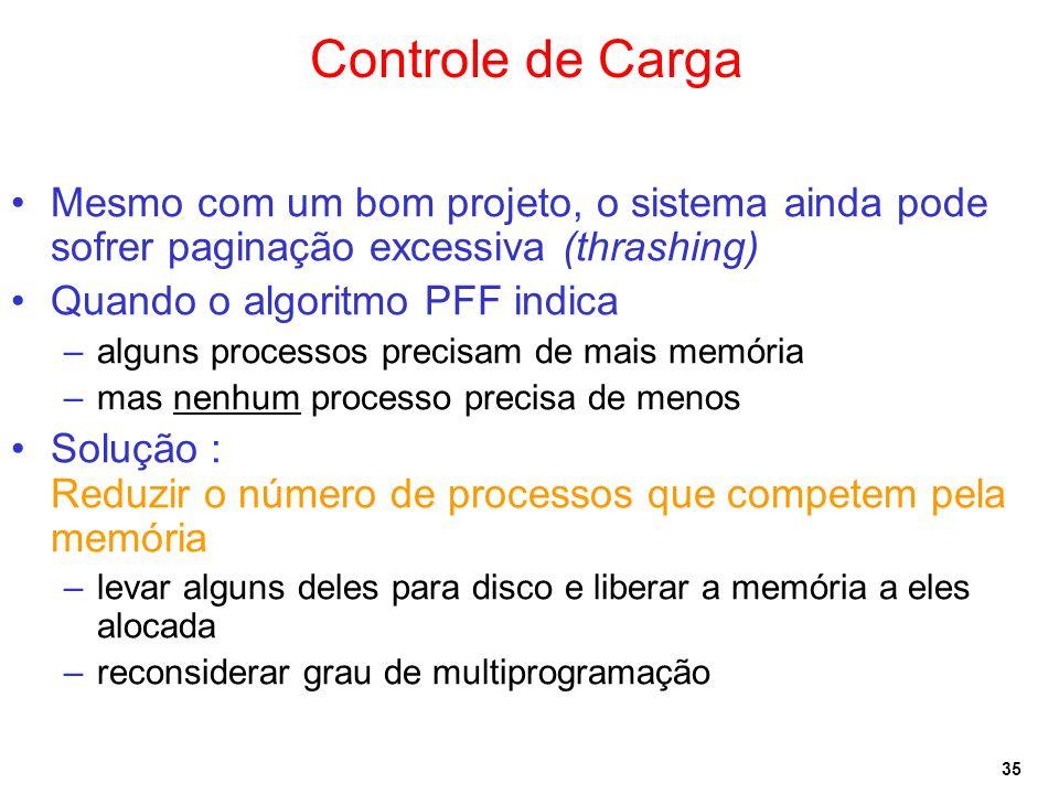 Controle de CargaMesmo com um bom projeto, o sistema ainda pode sofrer paginação excessiva (thrashing)