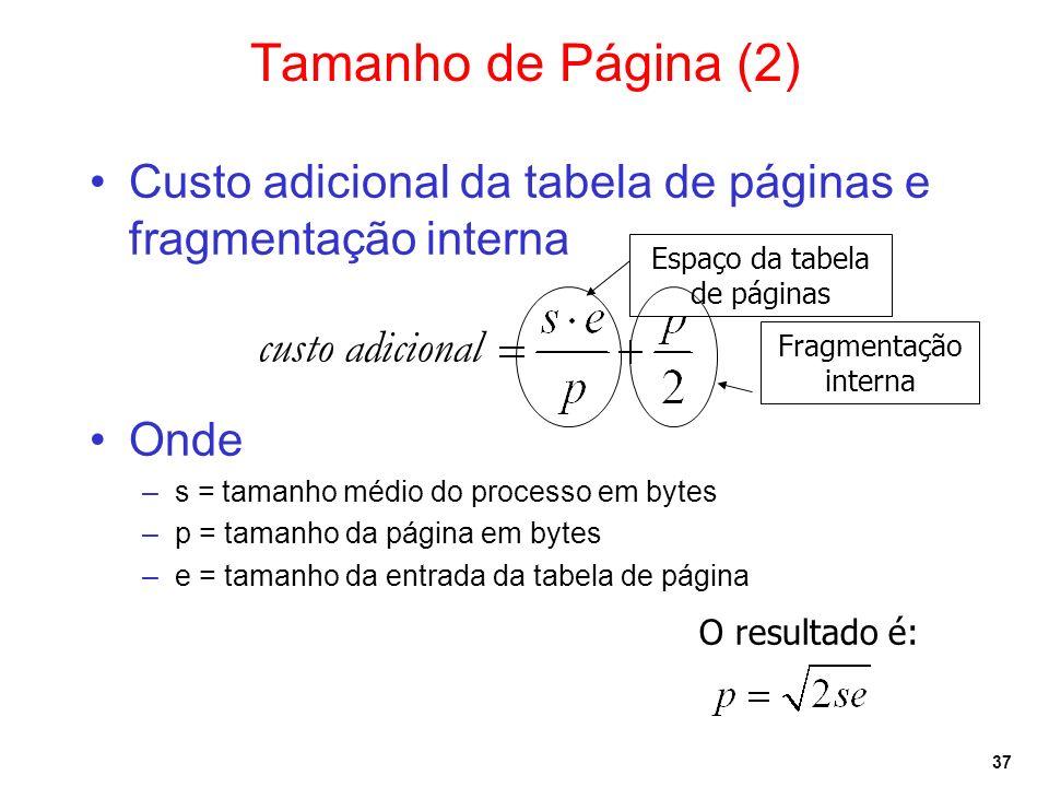 Espaço da tabela de páginas