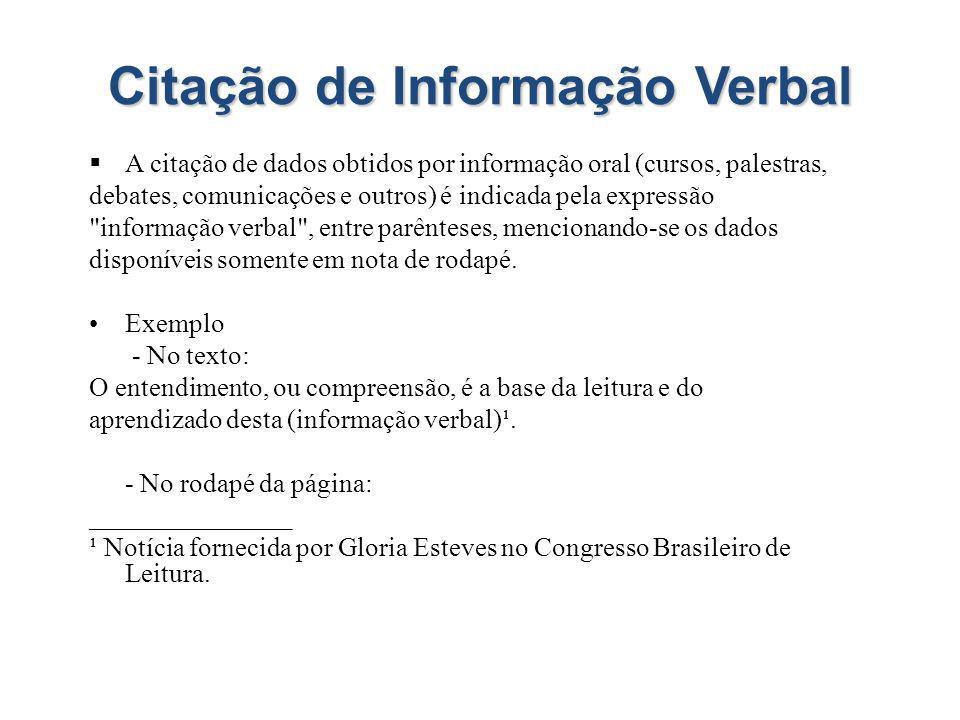 Citação de Informação Verbal