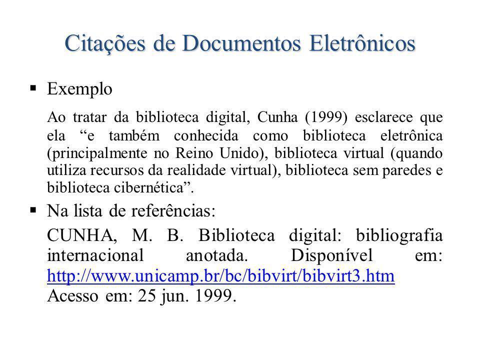 Citações de Documentos Eletrônicos