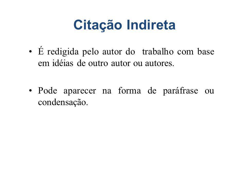 Citação Indireta É redigida pelo autor do trabalho com base em idéias de outro autor ou autores.