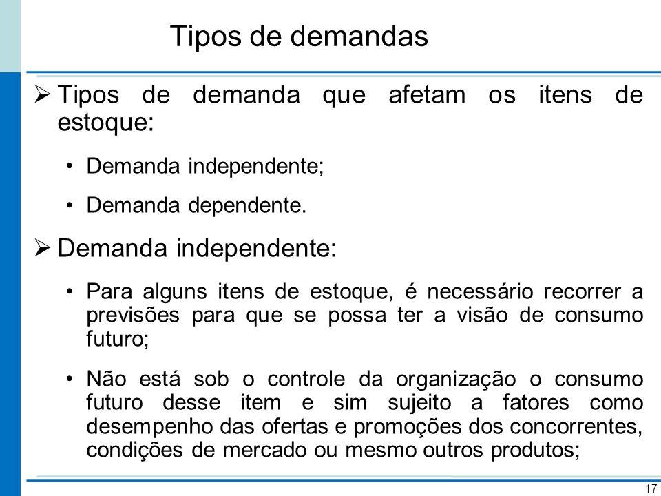Tipos de demandas Tipos de demanda que afetam os itens de estoque: