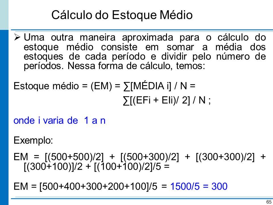 Cálculo do Estoque Médio