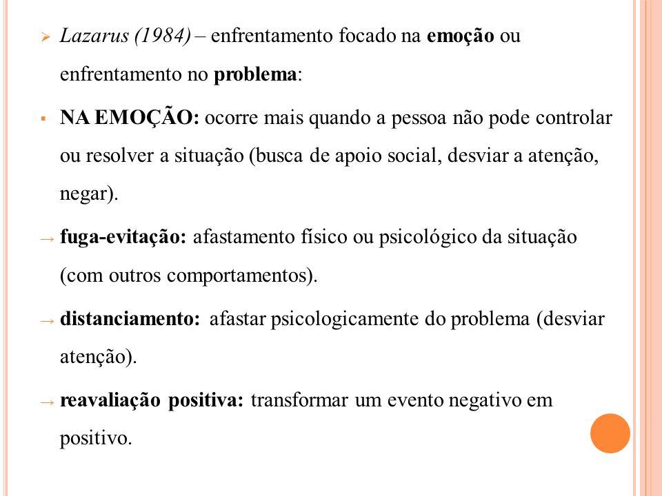 Lazarus (1984) – enfrentamento focado na emoção ou enfrentamento no problema: