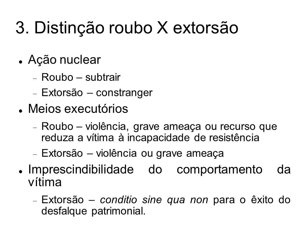 3. Distinção roubo X extorsão