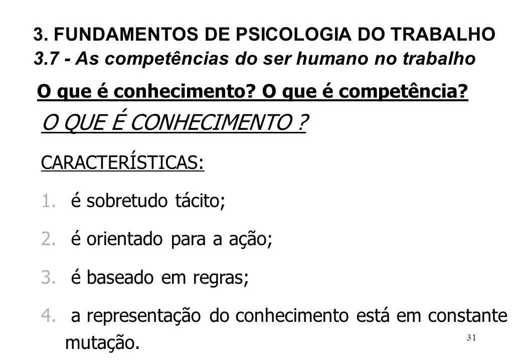 O QUE É CONHECIMENTO 3. FUNDAMENTOS DE PSICOLOGIA DO TRABALHO