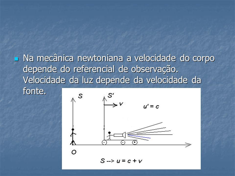 Na mecânica newtoniana a velocidade do corpo depende do referencial de observação.