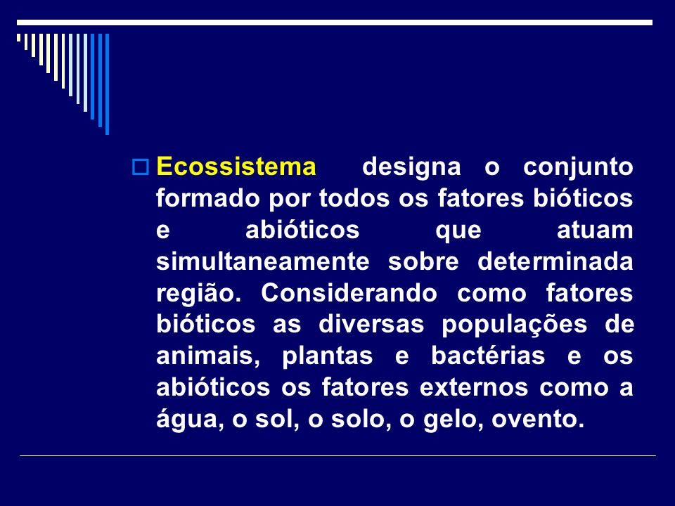 Ecossistema designa o conjunto formado por todos os fatores bióticos e abióticos que atuam simultaneamente sobre determinada região.
