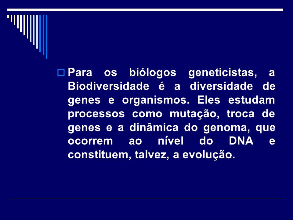 Para os biólogos geneticistas, a Biodiversidade é a diversidade de genes e organismos.