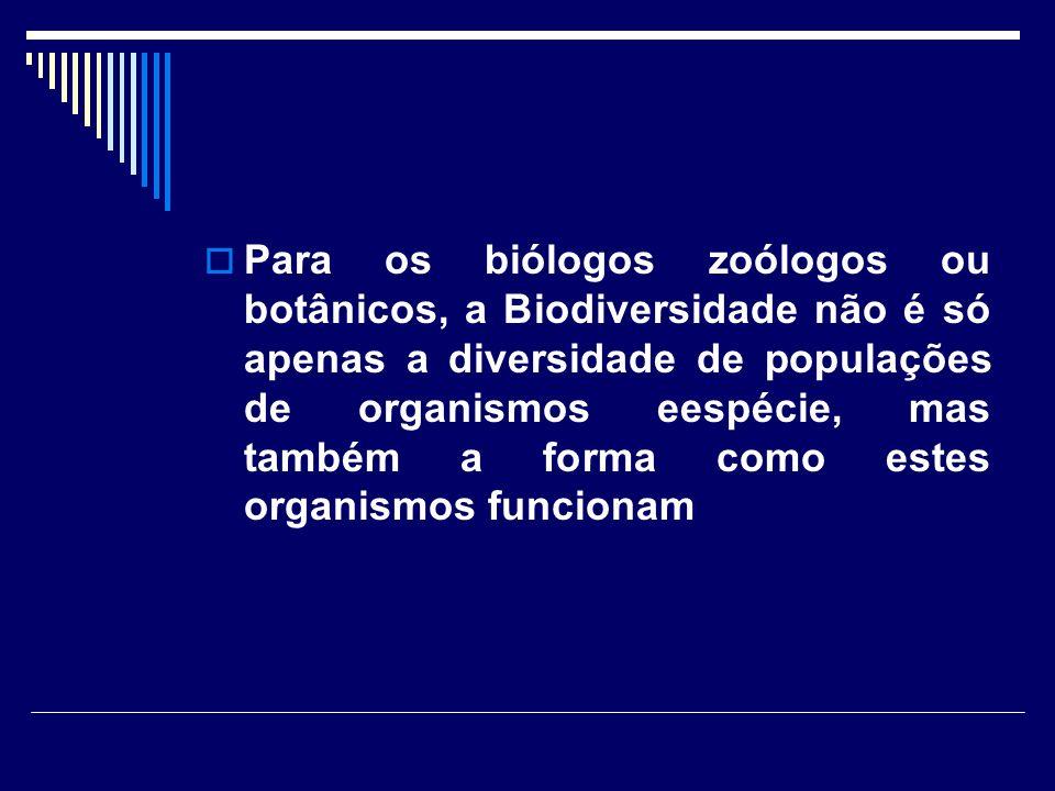 Para os biólogos zoólogos ou botânicos, a Biodiversidade não é só apenas a diversidade de populações de organismos eespécie, mas também a forma como estes organismos funcionam