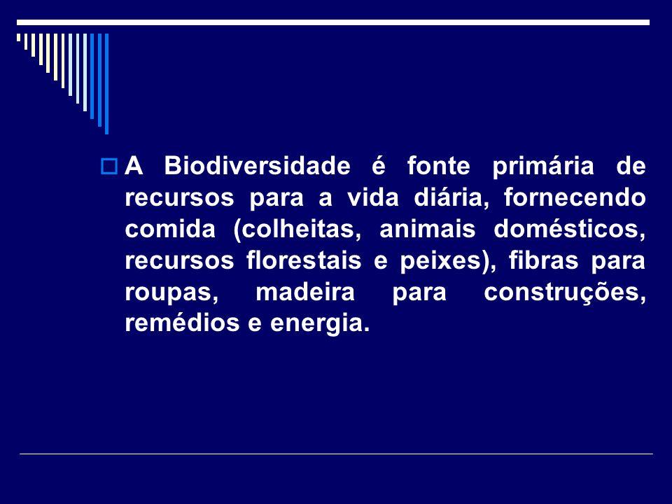 A Biodiversidade é fonte primária de recursos para a vida diária, fornecendo comida (colheitas, animais domésticos, recursos florestais e peixes), fibras para roupas, madeira para construções, remédios e energia.