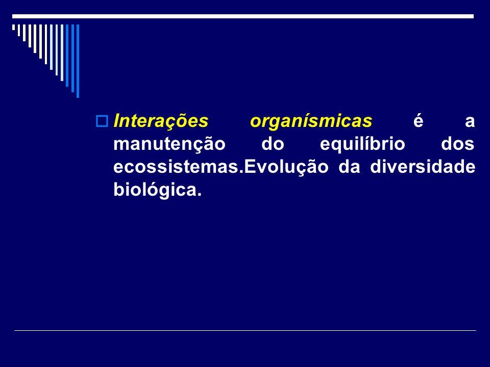 Interações organísmicas é a manutenção do equilíbrio dos ecossistemas