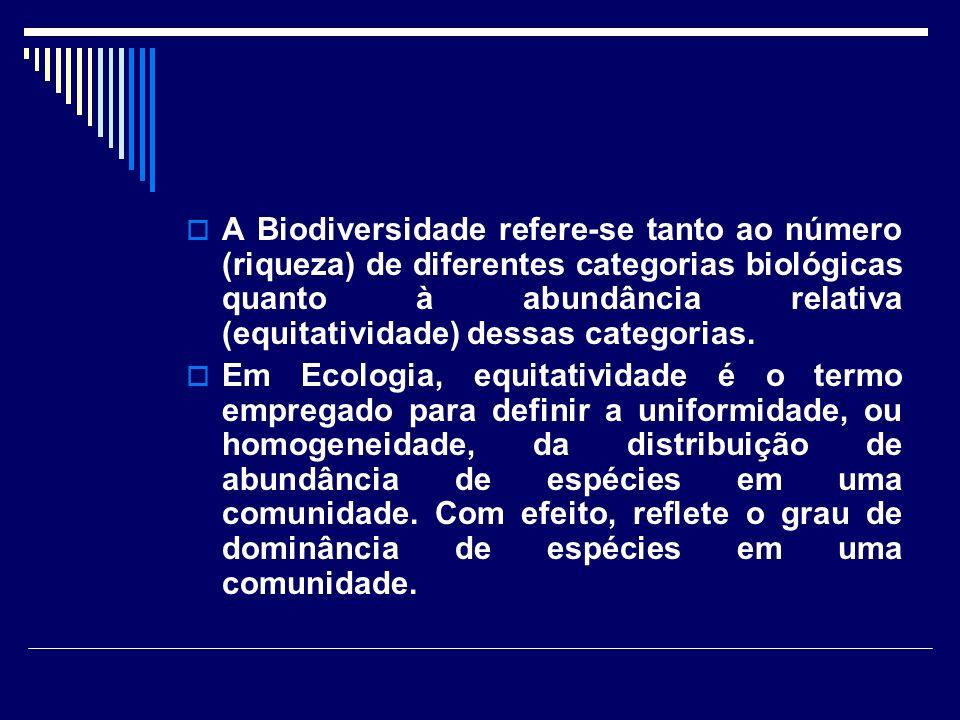 A Biodiversidade refere-se tanto ao número (riqueza) de diferentes categorias biológicas quanto à abundância relativa (equitatividade) dessas categorias.