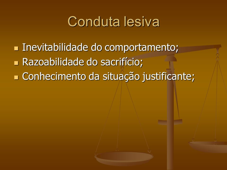 Conduta lesiva Inevitabilidade do comportamento;