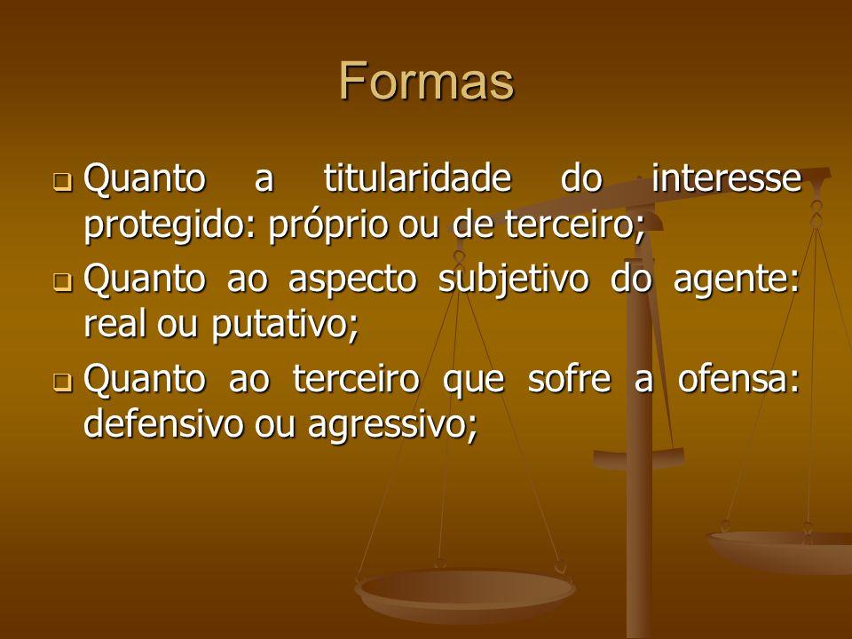 Formas Quanto a titularidade do interesse protegido: próprio ou de terceiro; Quanto ao aspecto subjetivo do agente: real ou putativo;