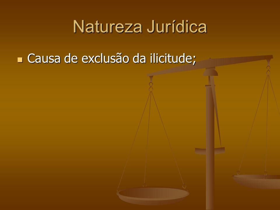 Natureza Jurídica Causa de exclusão da ilicitude;